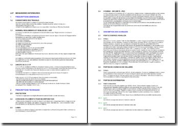 Bibliothèque d'articles pour les cahiers des clauses techniques particulières (CCTP): menuiseries intérieures