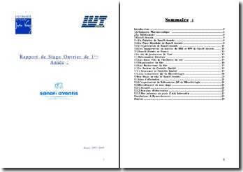Rapport de stage ouvrier au sein du Laboratoire Contrôle Qualité Microbiologie de Sanofi-Aventis du Trait