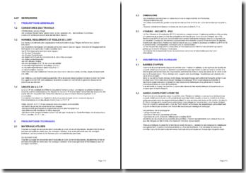 Bibliothèque d'articles pour les cahiers des clauses techniques particulières (CCTP): serrurerie