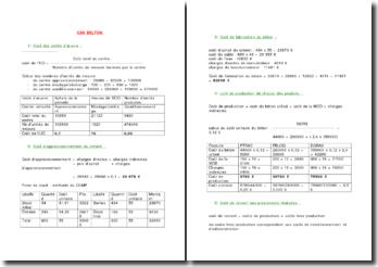 Etude de cas en comptabilité: le cas Belton