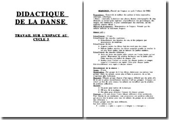 Didactique de la danse: travail sur l'espace au cycle 3