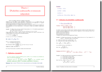 Les probabilités conditionnelles et événements indépendants