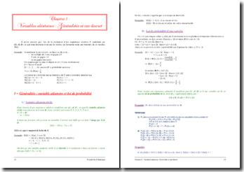 Les variables aléatoires : généralités et cas discret