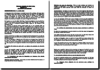 Commentaire d'arrêt de la Première Chambre Civile de la Cour de Cassation rendu le 16 mai 2000: les effets du mariage