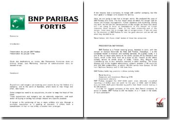 Etude de cas: fusion BNP Paribas/Fortis