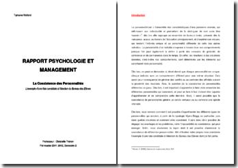 Rapport psychologique et management: la coexistence des personnalités