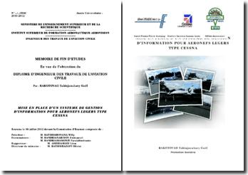 Mise en place d'un système de gestion d'information pour aéronefs légers type CESSNA