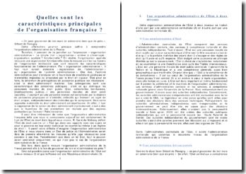 Quelles sont les caractéristiques principales de l'organisation administrative française ?