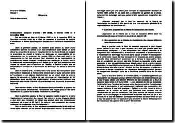 Commentaire comparé d'arrêts, 2ème Chambre Civile, 8 février 2006 et 4 novembre 2010: abandon de la théorie de l'acceptation des risques en matière de responsabilité civile