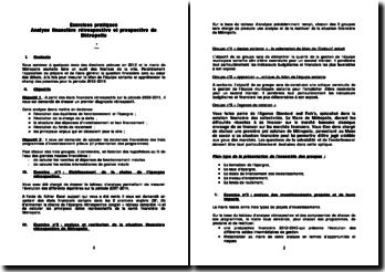 Exercices pratiques: analyse financière rétrospective et prospective de Métropolis