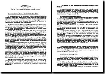 Commentaire de la décision de secteur du Conseil d'Etat rendue le 6 février 2004, Mme Hallal: les cas d'ouverture du recours pour excès de pouvoir
