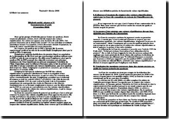 Commentaire d'arrêt de la Cour de cassation rendu le 13 octobre 2010: la charge de la preuve dans l'examen du critère des valeurs républicaines
