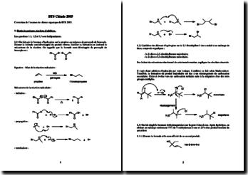 Correction de l'examen de chimie organique du BTS 2005