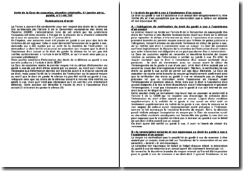 Commentaire d'arrêt rendu par la Chambre criminelle de la Cour de cassation le 17 janvier 2012: la garde à vue et l'article 6 de la CEDH