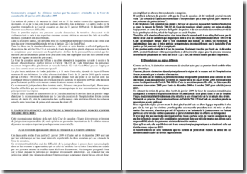 Commentaire comparé des décisions rendues par la Cour de cassation les 21 janvier et 16 décembre 2009