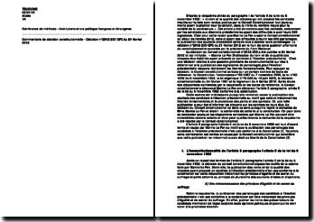 Commentaire de décision constitutionnelle n 2012-233 du 21 février 2012