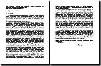 Sujet d'invention : Bérenger écrit une lettre à Daisy, lui exprimant son désarroi, et expliquant sa dispute avec Jean, Rhinocéros, Ionesco