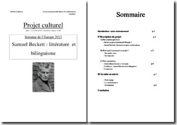Semaine de l'Europe 2013: Samuel Beckett, littérature et bilinguisme