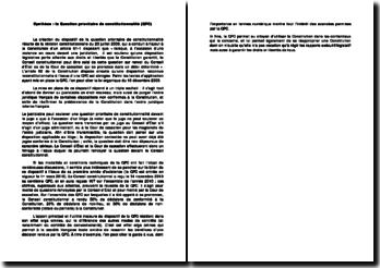 La création de dispositif de la question prioritaire de constitutionnalité (QPC)