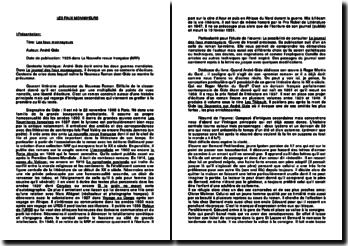 Présentation de l'oeuvre d'André Gide: Les faux monnayeurs