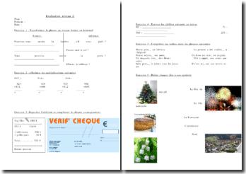 Exercices d'évaluation scolaire de niveau 2