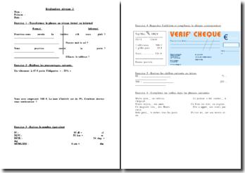 Exercices d'évaluation scolaire de niveau 3