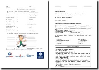 Exercices d'évaluation scolaire de niveau 1, juin 2012