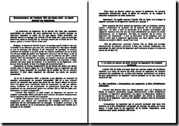 Commentaire de l'article 763 du Code civil : le droit annuel au logement