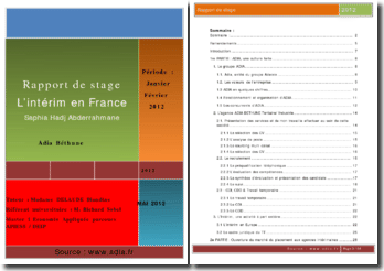 Rapport de stage effectué au sein de l'Agence d'interim Adia Béthune