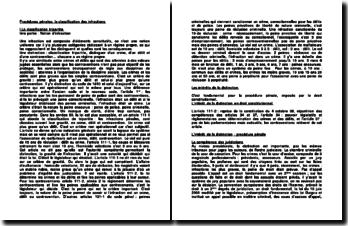 Procédures pénales: la classification des infractions