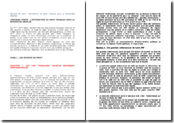 Histoire du droit: l'affirmation du droit français sous la monarchie absolue