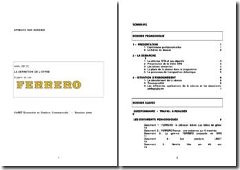L'analyse de la construction de l'offre et l'élaboration de la gamme de la situation professionnelle du groupe Ferrero