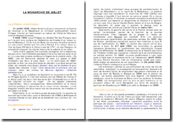 L'histoire de France: la monarchie de Juillet