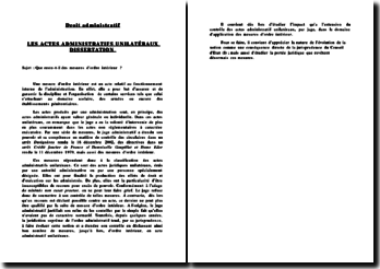 Les actes administratifs unilatéraux: que reste-t-il des mesures d'ordre intérieur ?