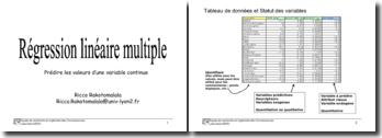 La régression linéaire multiple: prédire les valeurs d'une variable continue