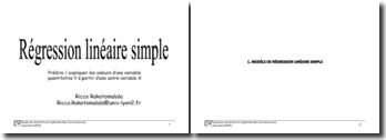 Régression linéaire simple: prédire / expliquer les valeurs d'une variable quantitative Y à partir d'une autre variable X