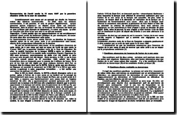 L'enrichissement sans cause, commentaire de l'arrêt rendu le 11 mars 1997 par la première chambre civile de la cour de cassation