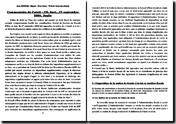 Commentaire de l'arrêt de Section du Conseil d'Etat daté du 27 septembre 2006: la fraude à la loi