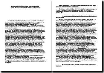 Commentaire d'arrêt de la Chambre criminelle de la Cour de cassation rendu le 20 janvier 2009: les conditions d'hébergement compatibles avec la dignité humaine