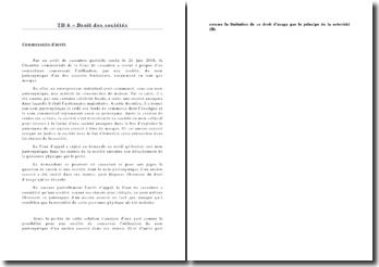 Commentaire de l'arrêt de cassation partielle, 24 juin 2008, Chambre commerciale de la Cour de contentieux: utilisation par une société du nom patronymique d'un des associés fondateurs