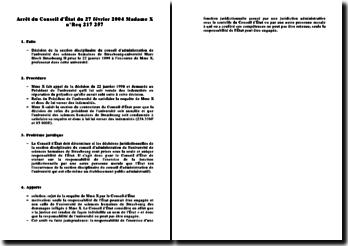 Commentaire de l'arrêt du Conseil d'État du 27 février 2004 Madame X