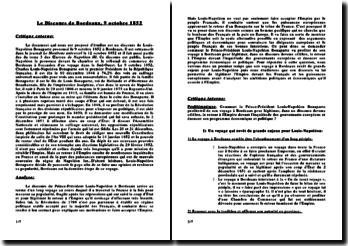 Commentaire du discours prononcé par Louis-Napoléon Bonaparte le 9 octobre 1852 à Bordeaux