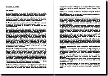 Etude de trois cas pratiques sur le contrat de mandat