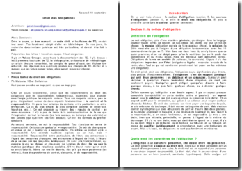 Le contrat en droit des obligations
