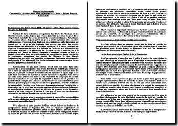 Commentaire de l'arrêt de la Cour EDH daté du 20 janvier 2011, Haas contre Suisse: la reconnaissance du droit au suicide