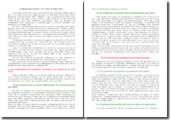 Commentaire de l'arrêt de la Chambre civile de la Cour de cassation daté du 31 mars 2011: l'enrichissement sans cause