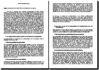 Commentaire de l'article 68 de la Constitution en vigueur: la responsabilité du président de la République