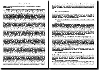 Le Conseil Constitutionnel est-il un organe politique ou un organe juridictionnel?