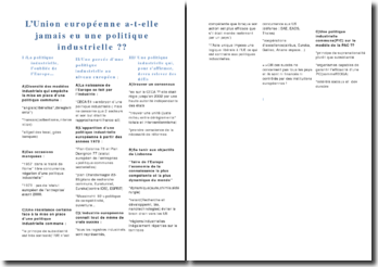 L'Union européenne a-t-elle jamais eu une politique industrielle ?