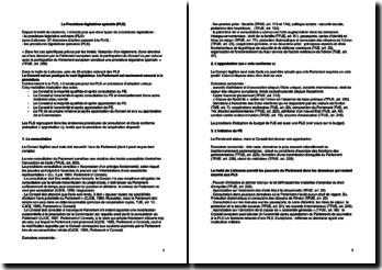 La procédure législative spéciale (PLS)